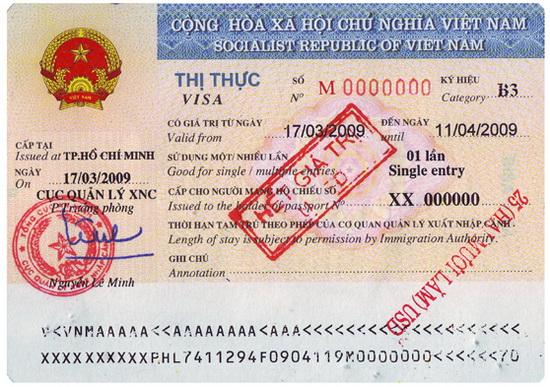 Vietnam single entry visa