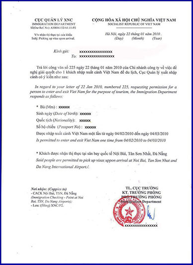 Vietnam visa fee for one month single entry