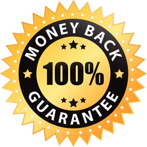 100% money back guarantee label isolated on a white background